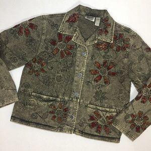 Chico's Design Gray Wash Denim Jacket Embroidered
